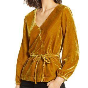 NWT J.Crew Gold Faux Wrap Velvet Top Size 0